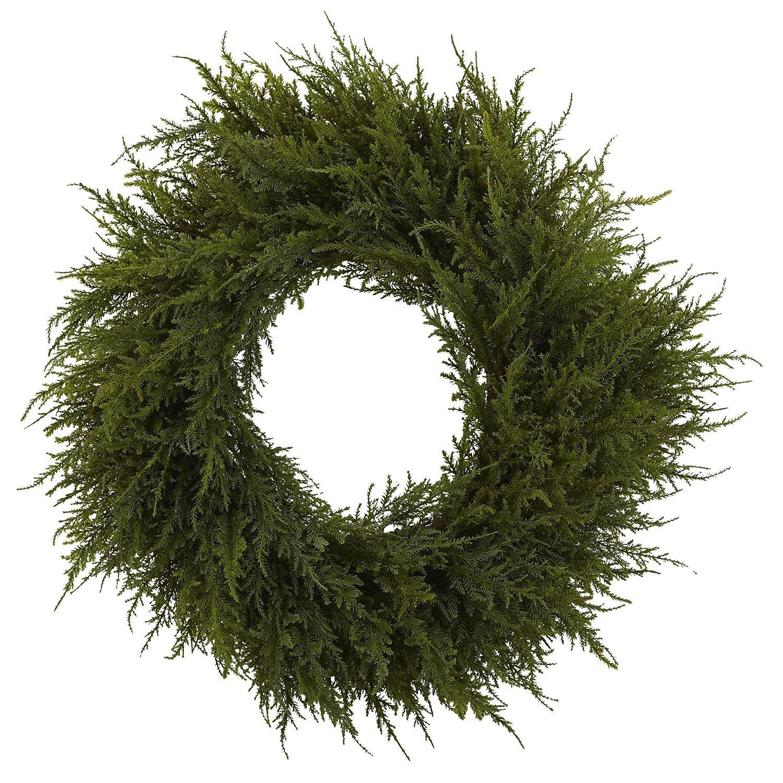Nearly Natural 4952 Cedar Wreath, 24-Inch, Green