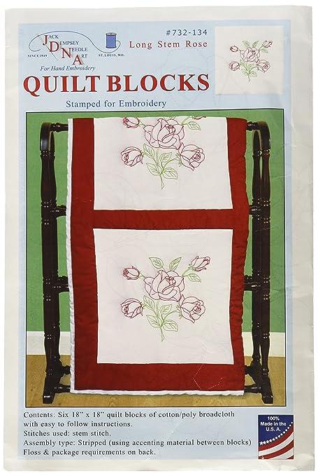 """Jack Dempsey Stamped White Quilt Blocks 18/""""X18/"""" 6//Pkg-XX Rose"""
