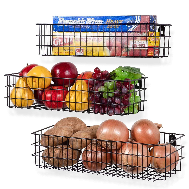 Wall35 Kansas Wall Mounted Kitchen Storage Metal Wire Fruit Basket Varying Sizes,Set of 3, Black