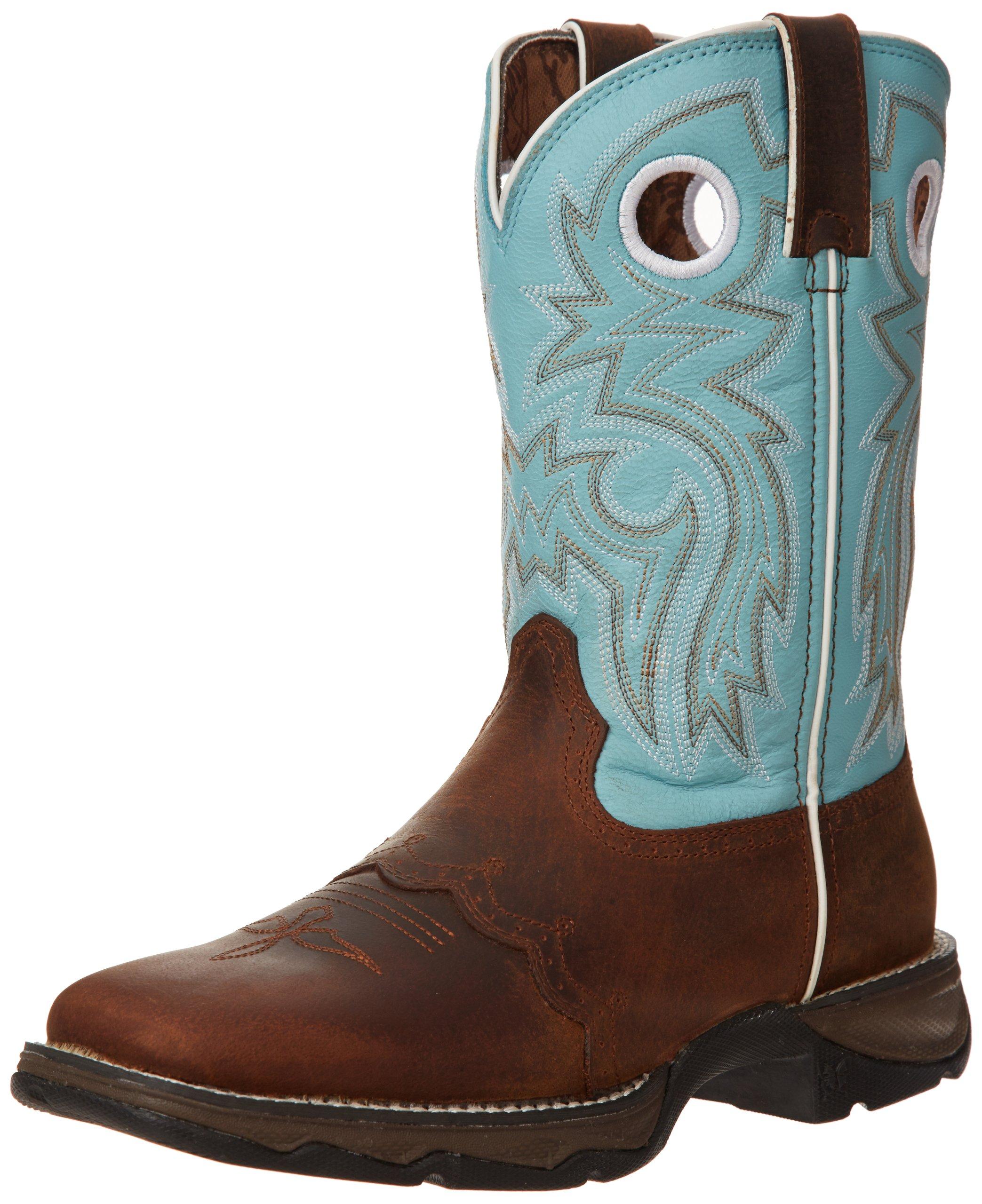 Durango Women's Flirt With Durango 10'' Boot,Brown/Light Blue,7 M US