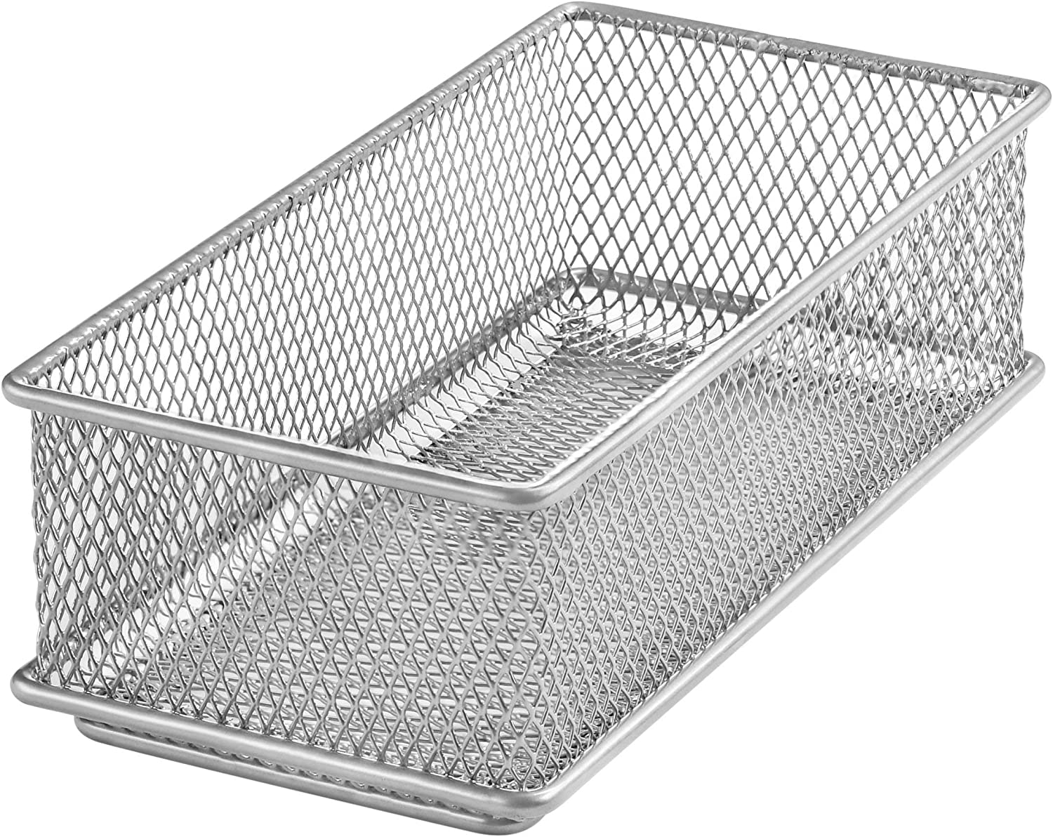 Ybm Home Silver Mesh Drawer Cabinet and or Shelf Organizer Bins, School Supply Holder Office Desktop Organizer Basket 1594s (1, 3x6x2 Inch)