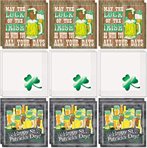 Unique St. Patrick's Day Beverage Napkins Party Bundle | 3 Designs, 16 Count per Design, 48 Total | Cocktails May The Luck of The Irish Be with You, Leprechaun, Party Drinks