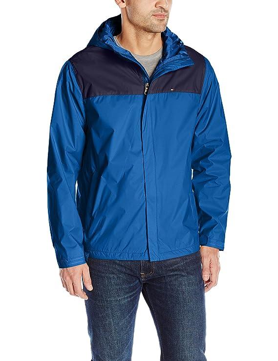 Tommy Hilfiger Men's Waterproof Breathable Hooded Jacket, Navy/Ocean Blue, S best men's lightweight jackets