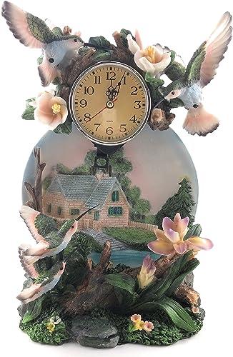 Porcelain Quartz Hummingbird Desk Clock
