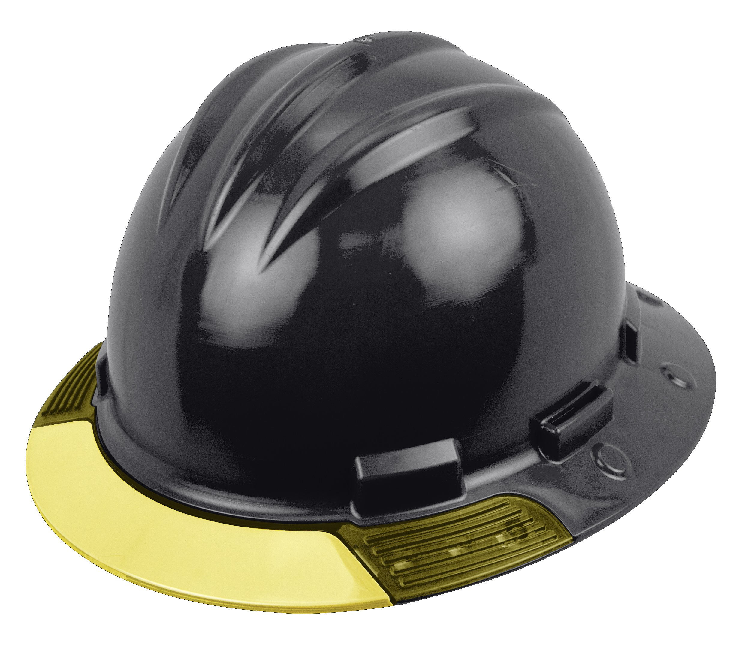 Bullard AVBKRY Above View Hard Hat, Black, Cotton Brow Pad, Ratchet Suspension, Yellow Visor, One Size
