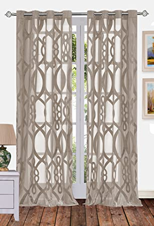 Ifblue 1 Panel Grommet Top Sheerness Velvet Cutting Sheer Window Light  Filtering Geometric Pattern Curtains Drapes Part 48