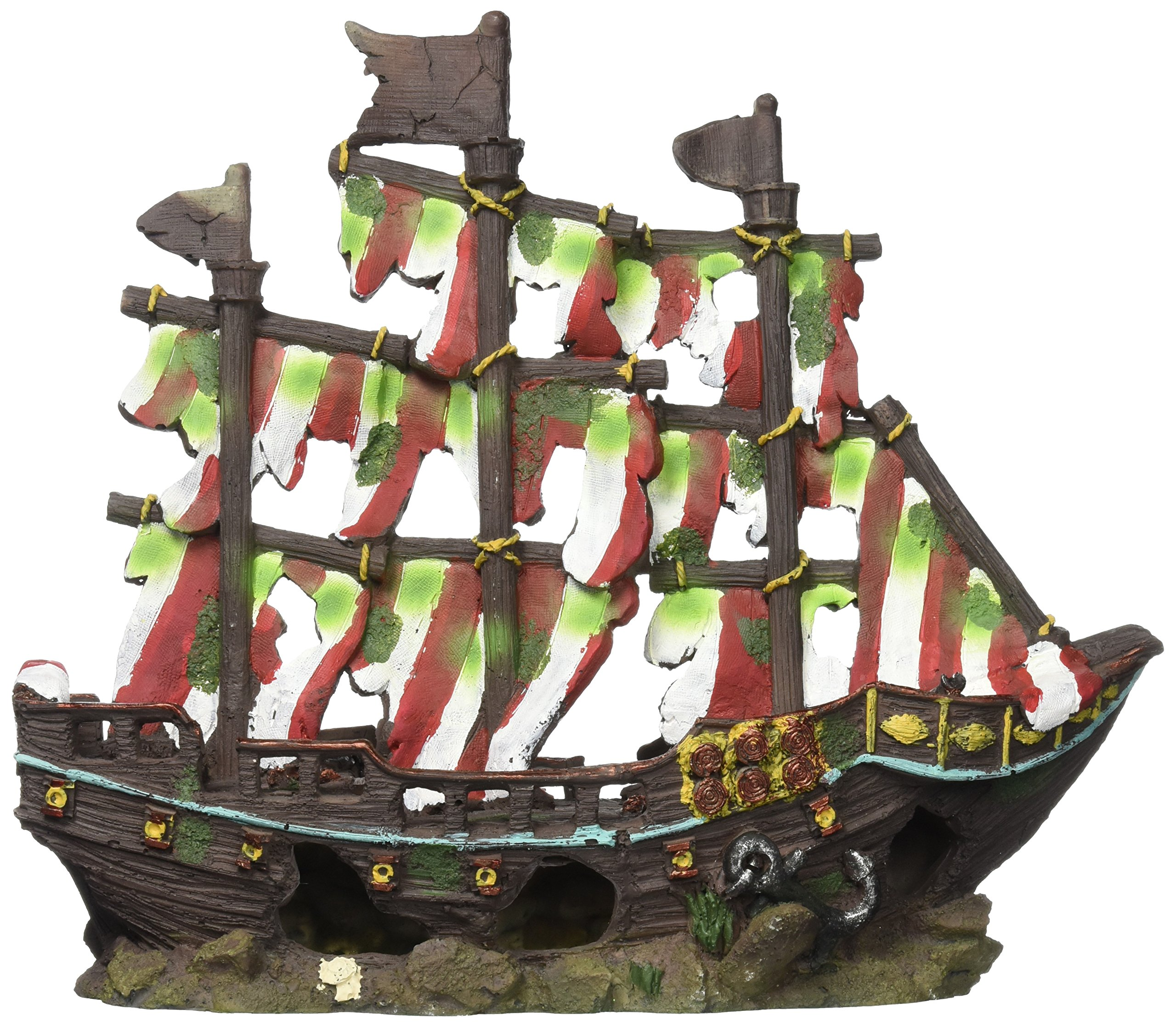 Penn Plax Striped Sail Shipwreck Aquarium Decoration Ornament Colorful Red and White Design 12 Inch by Penn Plax