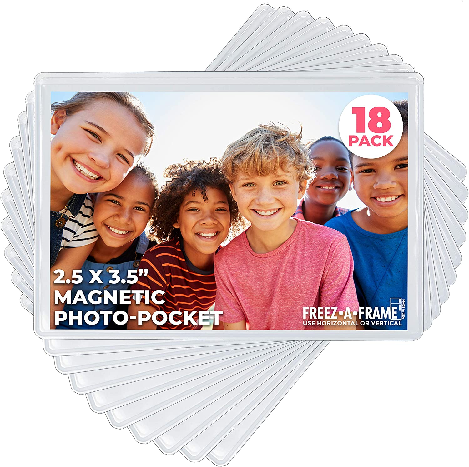 """Freez A Frame Clear Magnetic Picture Frame Pockets For Refrigerator School Locker, or any Magnetic Surface 18 Pack Holds 2.5"""" x 3.5"""" Photos (2.5 x 3.5)"""