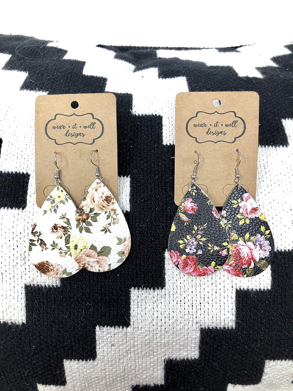 Wear It Well Designs Faux Leather Earrings for Women /& Girls Two Pairs Teardrop Leather Earrings Floral//Metallic Gold and Silver Leather Earrings