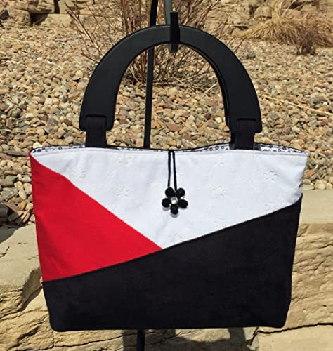 aa7a38d5f3 Amazon.com  Black Suede Red Cotton White Eyelet Lace Color Block Tote  Purse