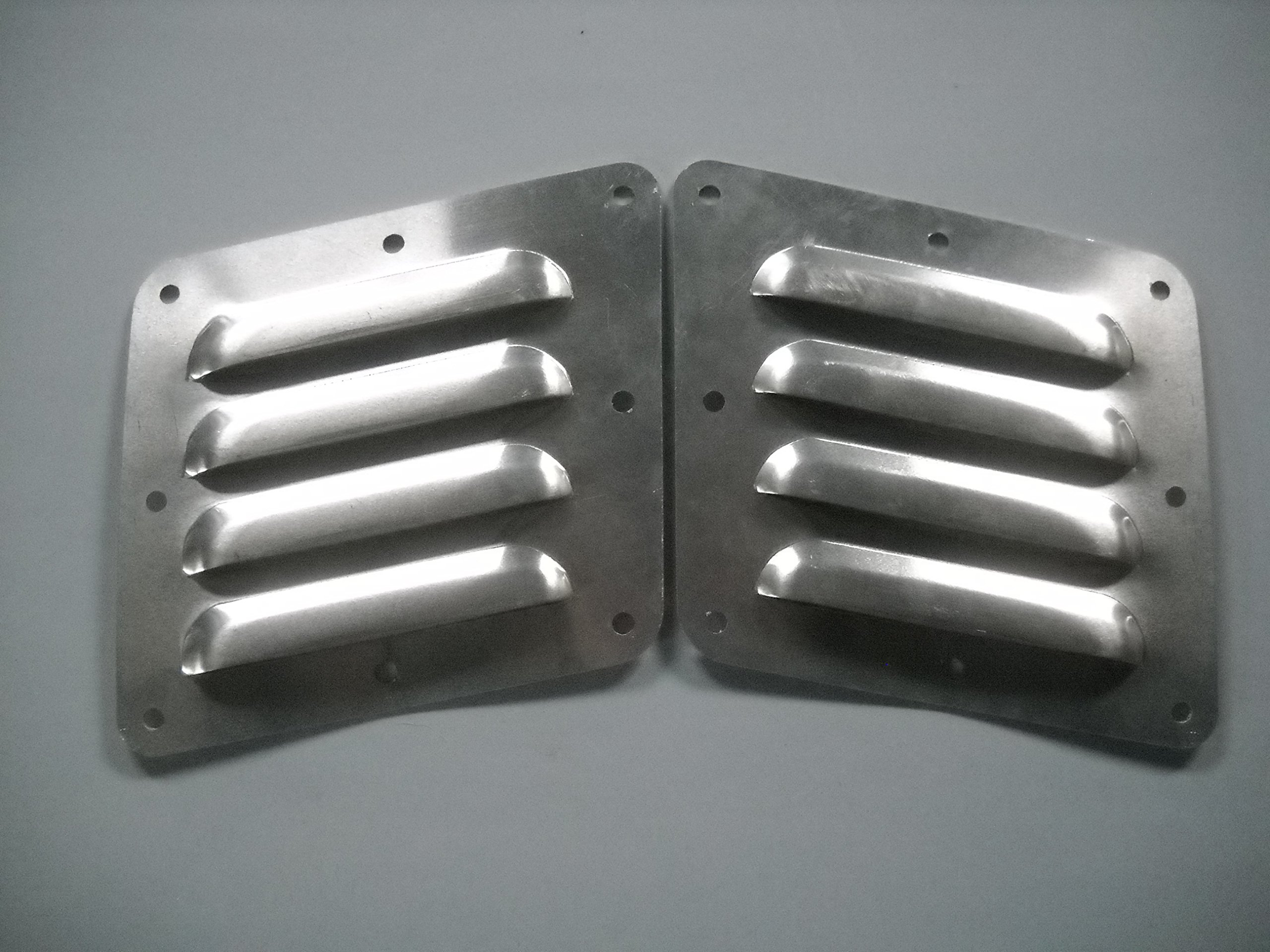 "RodLouvers Pair of Angled Aluminum 5"" 4 Louver Hood Panels (Bolt-On) Kit"