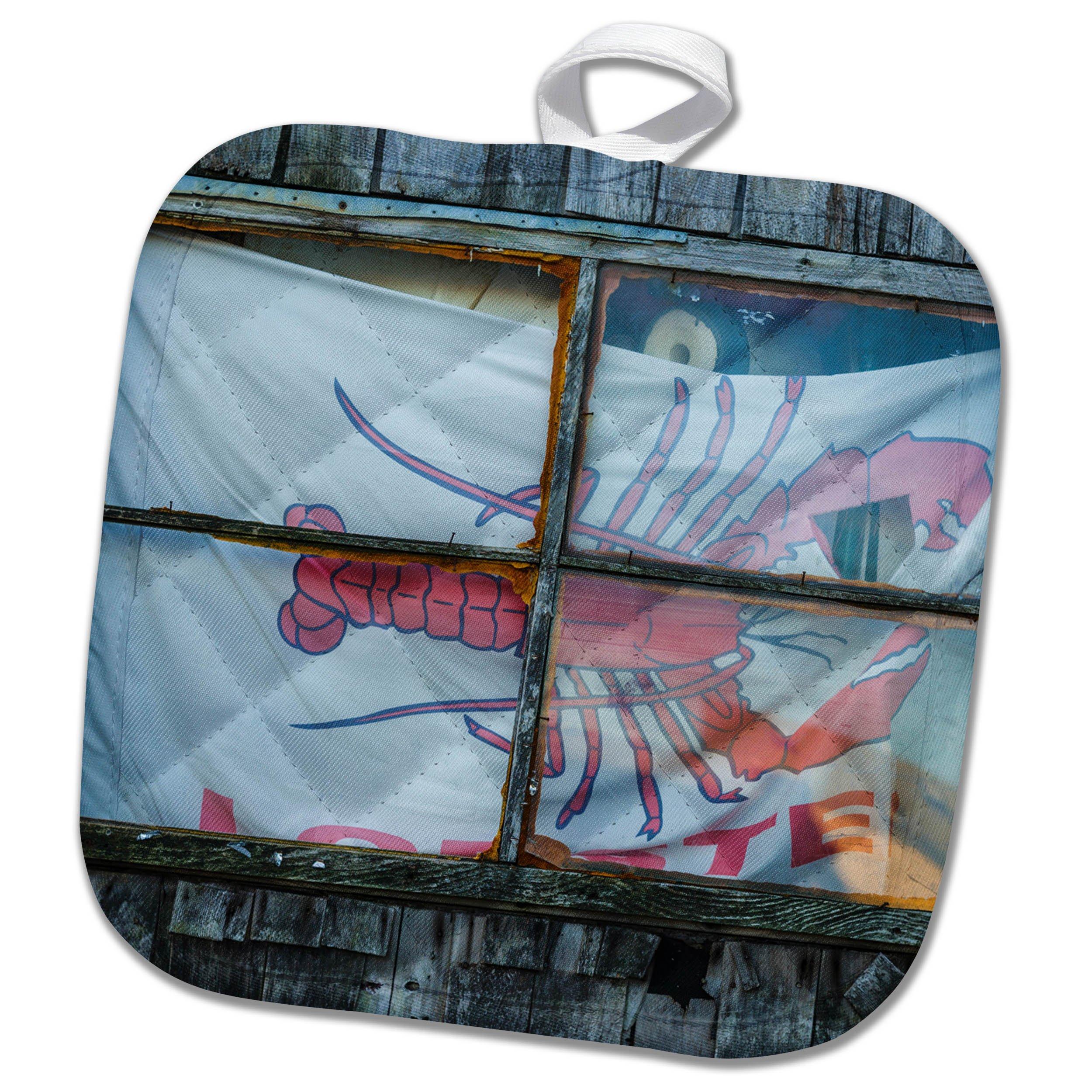 3dRose Danita Delimont - Architecture - USA, Massachusetts, Cape Ann, Rockport, lobster shack window - 8x8 Potholder (phl_259462_1)