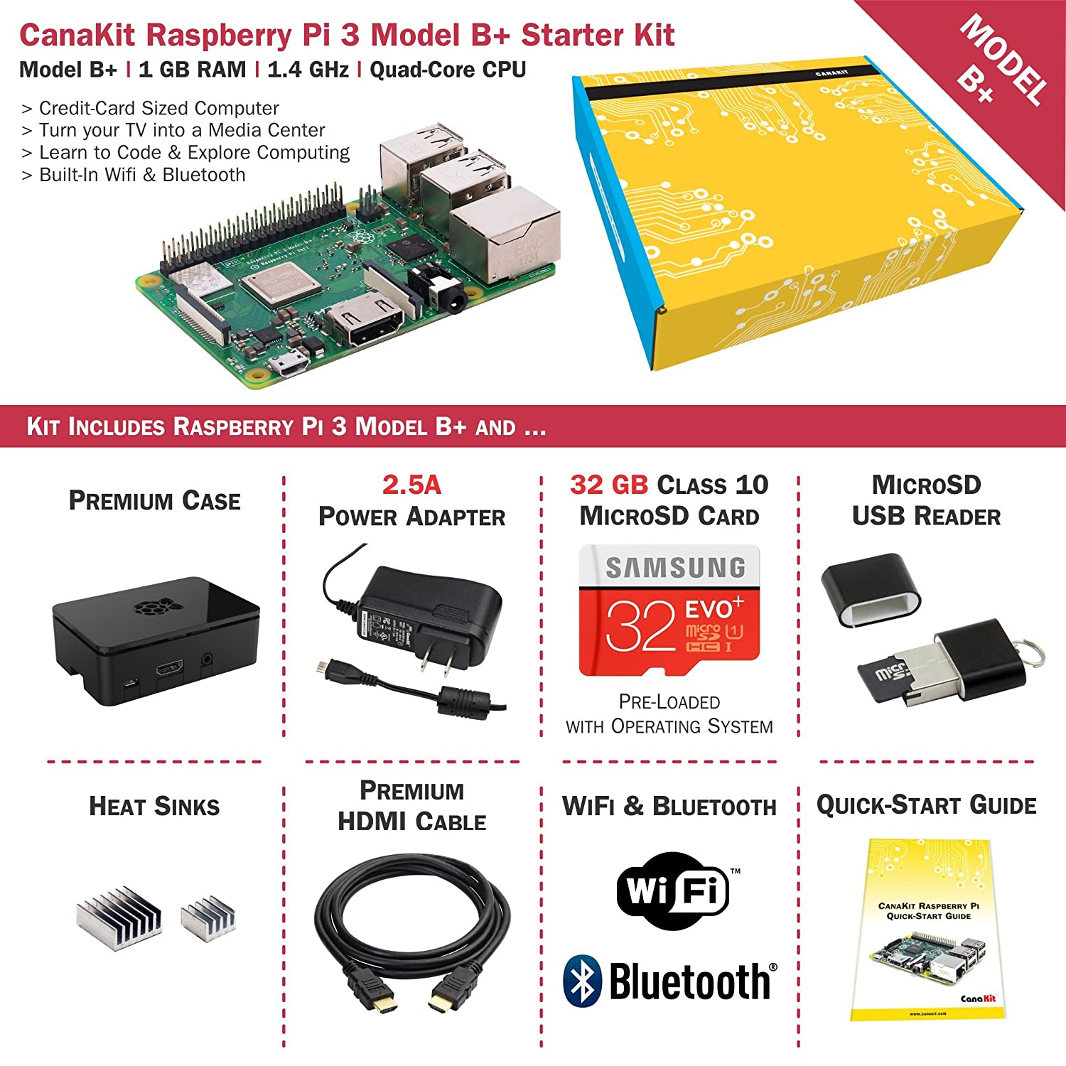 Amazon.com: CanaKit Raspberry Pi 3 B+ (B Plus) Kit de ...