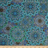 Timeless Treasures Enchanted Plume Metallic Medallions Turquoise Fabric By The Yard