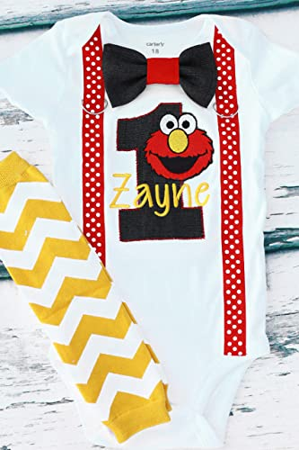 ddddbc15 Boy first birthday outfit Boy cake smash outfit- Elmo, Sesame Street,  Educational, (embroidered) Parent shirts are available (Leg warmers NOT  included)