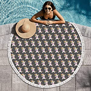 cuyde Round Beach Towel Blanket Dabbing Unicorn Rainbow Bath Pool Mandala Microfiber Beach Tassels Super Water Absorbent Round Beach Blanket