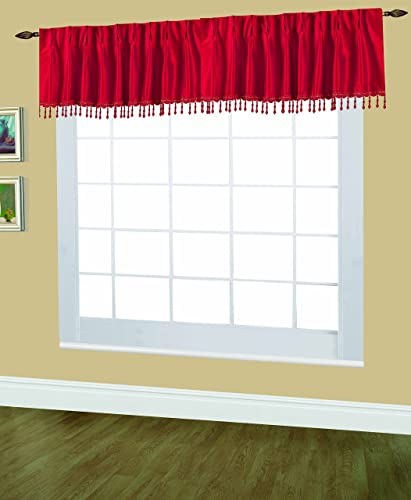 Editex Home Textiles Elaine Lined Pinch Pleated Valance, 48 by 18-Inch, Red