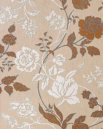 3D Blumentapete Landhaustapete EDEM 116 24 Design Blumen Floral Tapete  Hell Karamell Weiß Kupfer Braun Silber: Amazon.de: Baumarkt