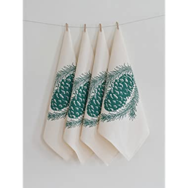 Set of 4 Cloth Napkins - Organic Cotton - Pine Cone Design in Dark Green