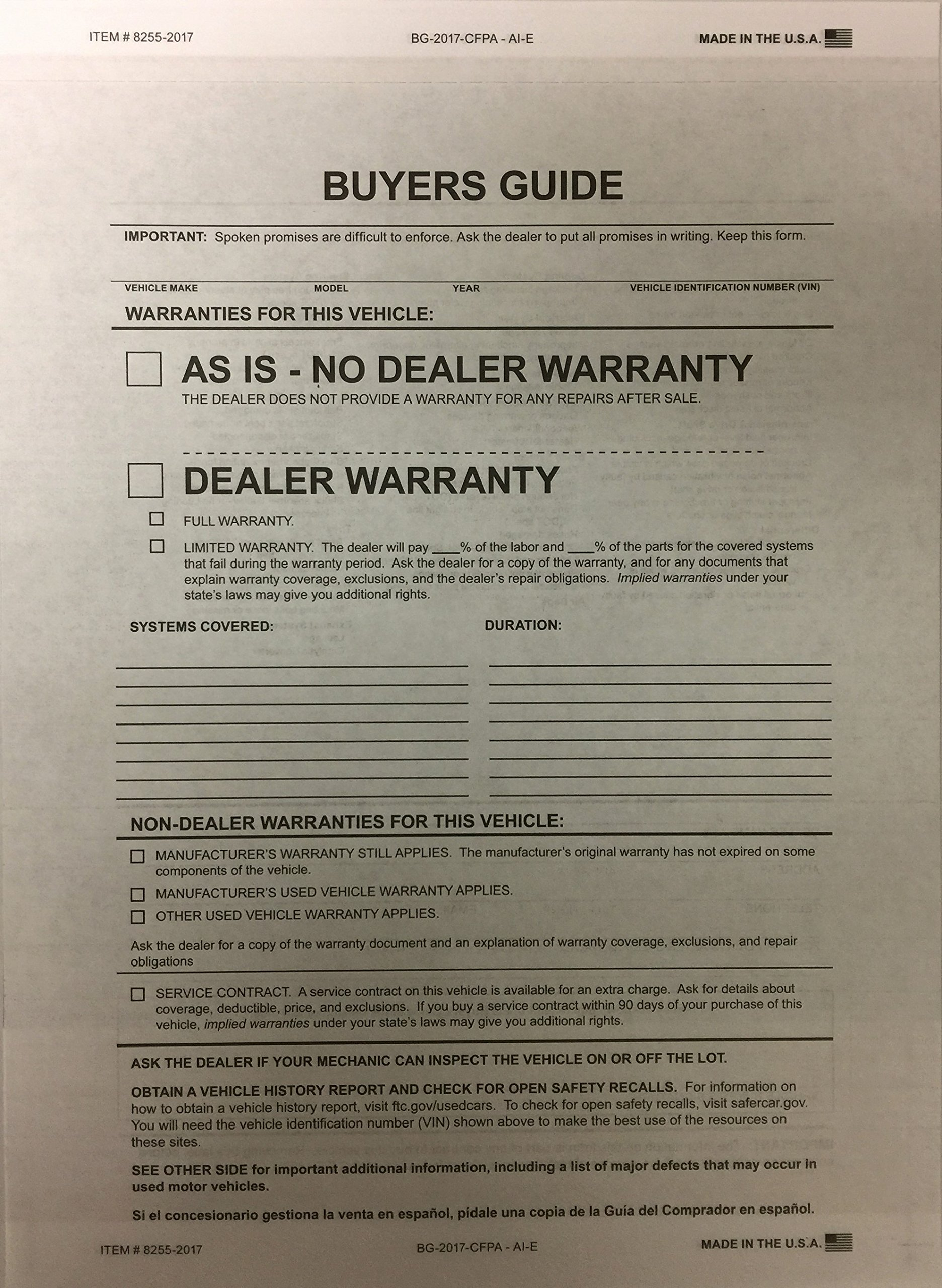Buyers Guide - 2 Part -100 Qty. #8255-2017 by A Plus