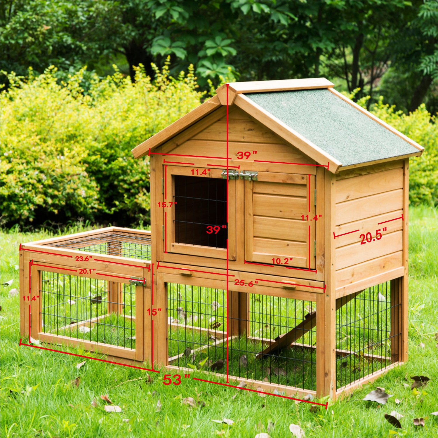 Eight24hours 53'' Wooden Chicken Coop Rabbit Hutch Small Pet House Hen Cages + FREE E-Book by Eight24hours (Image #2)