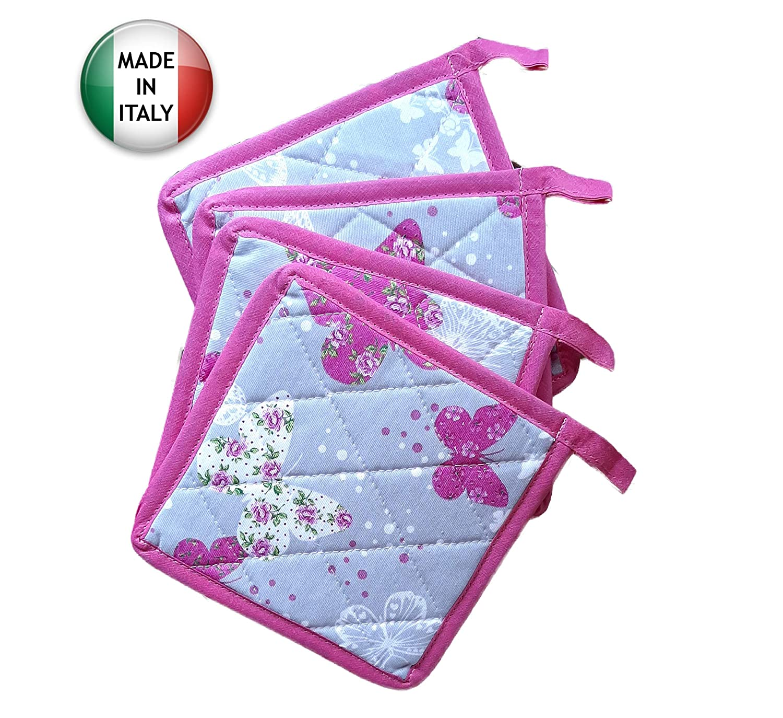 Made in Italy Solide e Spesse Misto Poliestere Pezzoli Set 4 presine da Cucina Farfalle e Cuori con Sfondo Grigio e Bordo Fucsia Molto Resistente al Calore e ai lavaggi in Lavatrice