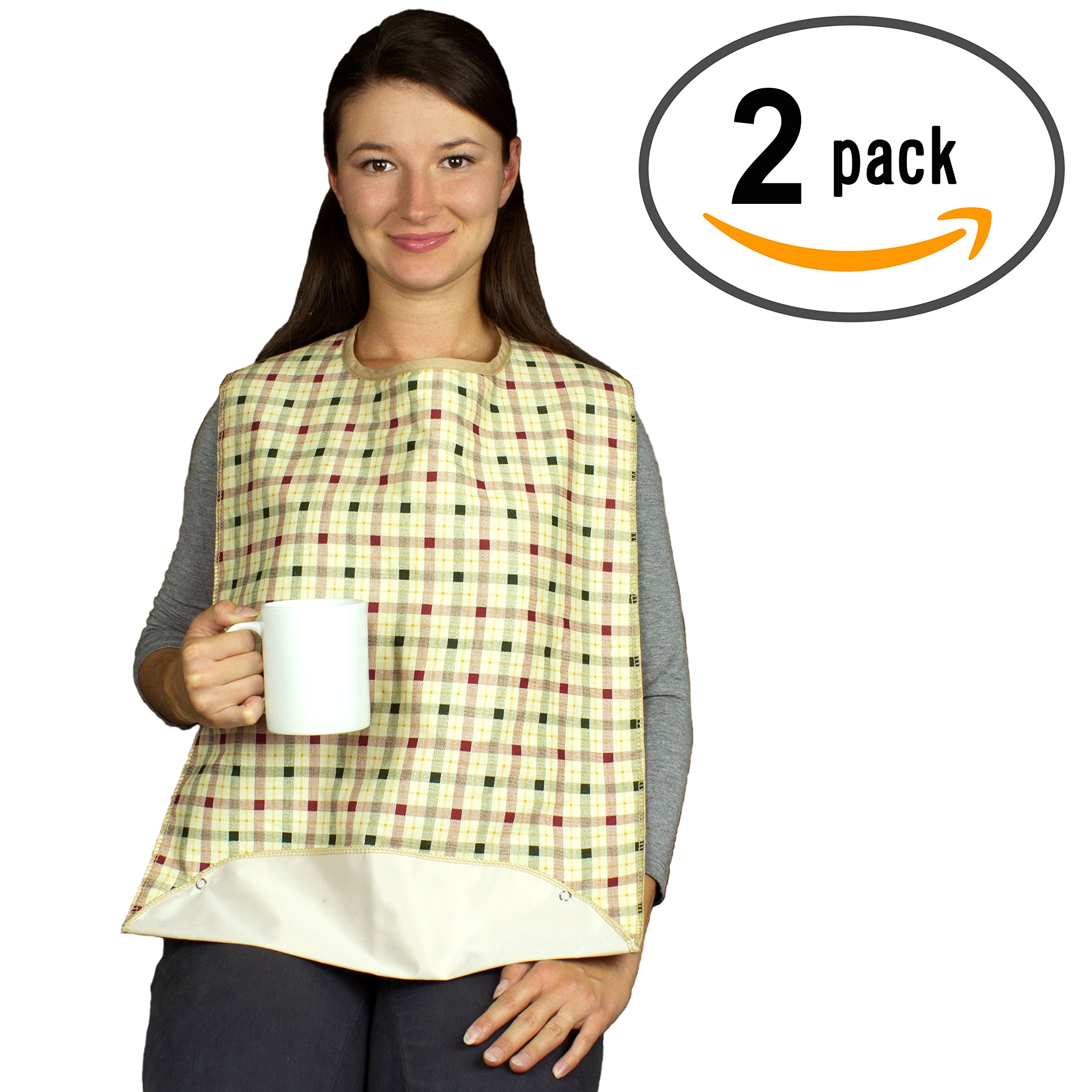 2 Pack - Washable Adult Bib with Optional Crumb Catcher, Vinyl Backing and Velcro Closure - Reusable Clothing Protector with Protective Backing - Great for Adults and Seniors