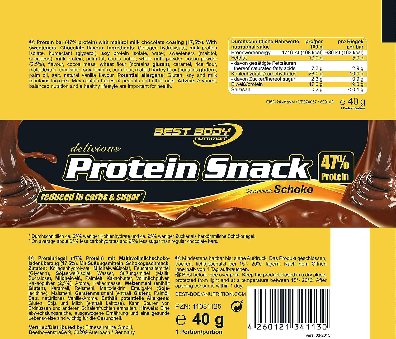 Best Body Nutrition Protein Snack Barrita de Proteína - 20 Barras: Amazon.es: Salud y cuidado personal