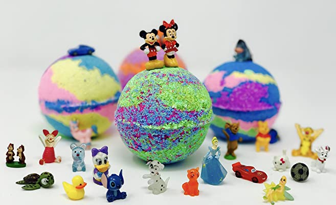New! 10 5 oz Disney Inspired Bath Bombs Lush Like Party Favor Set with Toy - All Naural, Vegan & Homemade with Texas Size Love