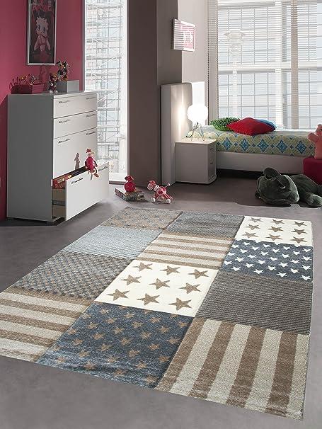 Kinderteppich Spielteppich Kinderzimmer Teppich Stern Motiv ...