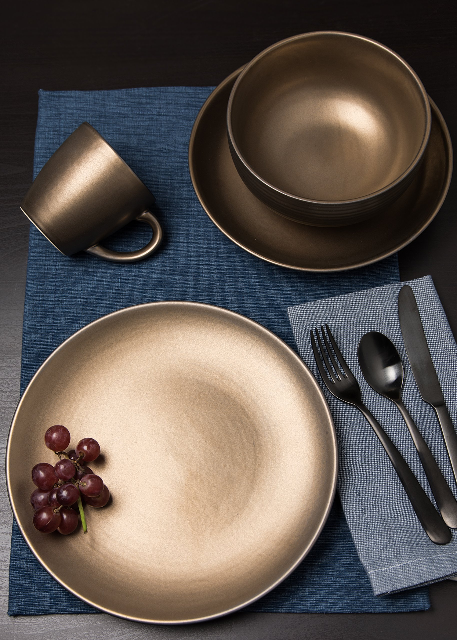 Tablescapes ME52957-16PC 16 Piece Teton Dinnerware Set, Rubbed Gold by Tablescapes (Image #3)