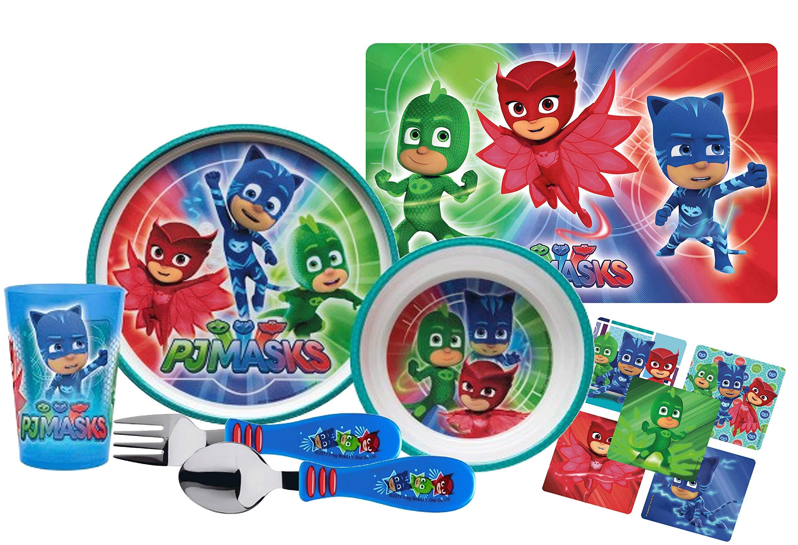 PJ Masks Kids 6pc Dinnerware Set! Includes Plate, Bowl, Tumbler Cup, Place-mat, Fork & Spoon! Featuring Catboy, Owlette & Gekko! BPA-free!
