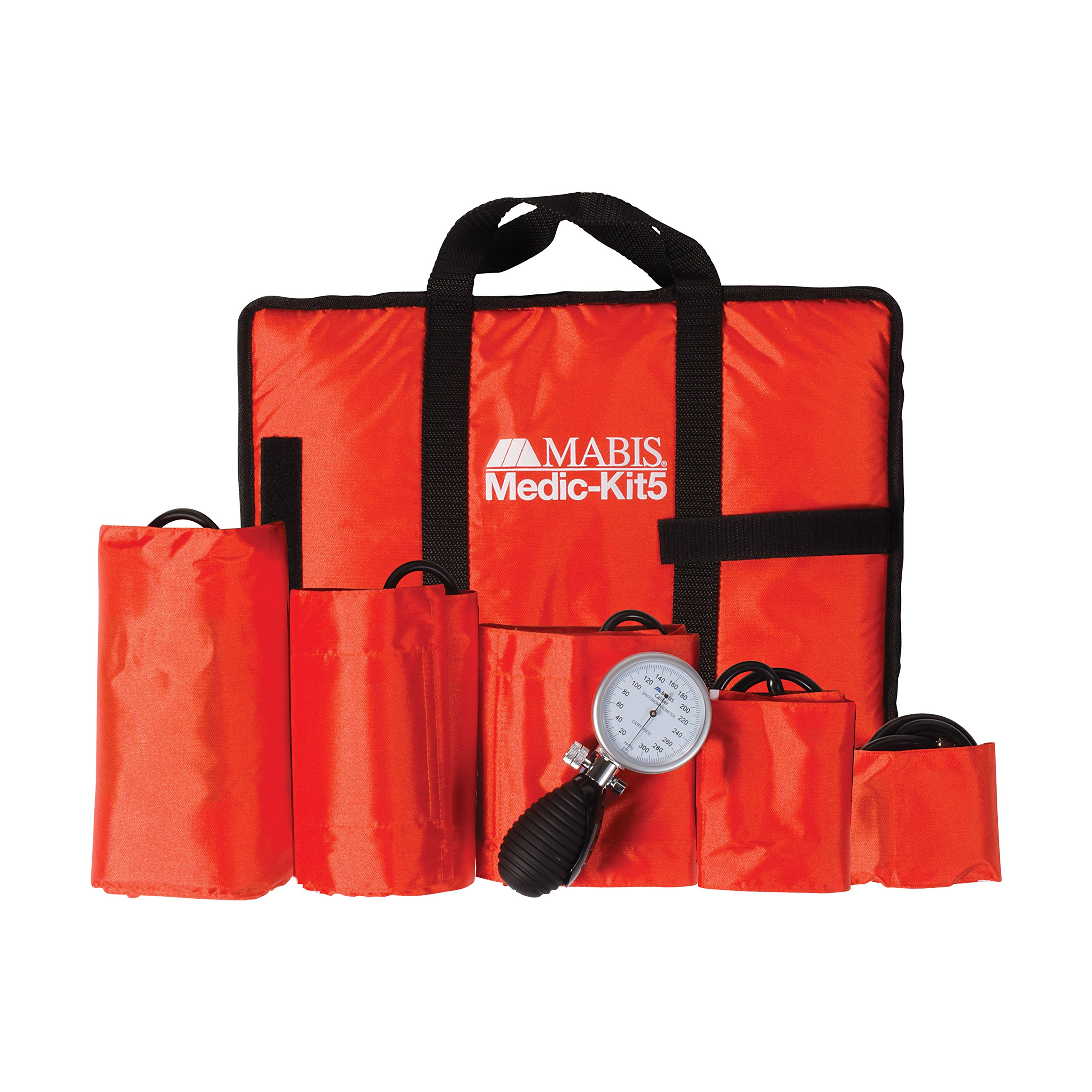 MABIS Medic-Kit5 EMT and Paramedic First Aid Kit with 5 Calibrated Nylon Blood Pressure Cuffs, Orange
