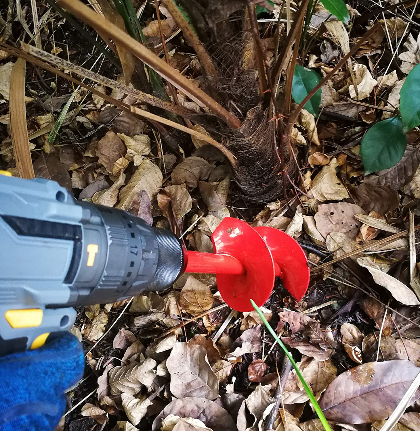 """Solid Carbon Steel STEAD /& FAST Bulb Auger 1.6/"""" x 9/"""" with /¼/"""" Hex Drive Garden Auger for Planting Bulbs and Grass Bedding Hole Digging Red"""