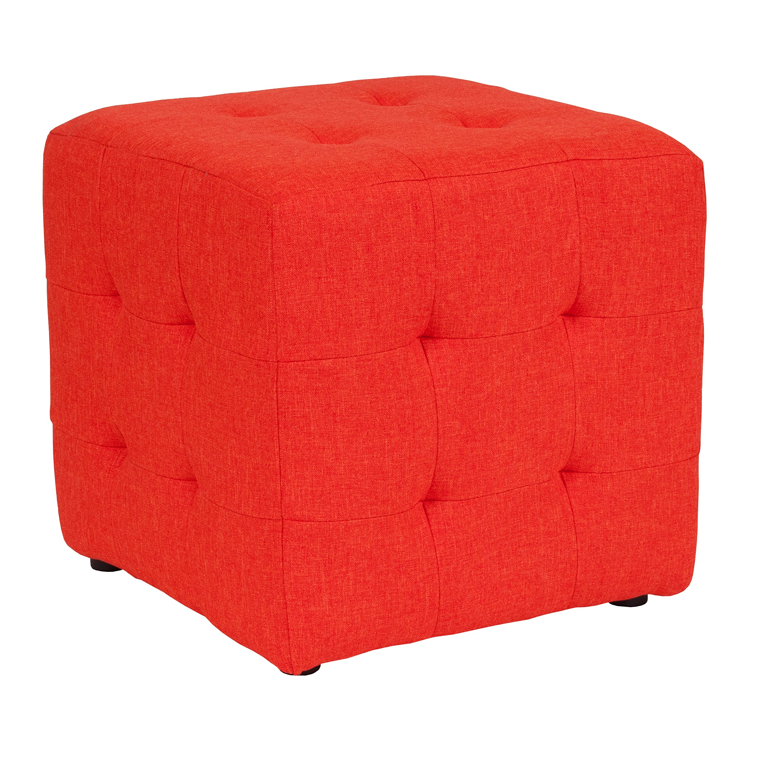 Flash Furniture Avendale Tufted Upholstered Ottoman Pouf in Orange Fabric