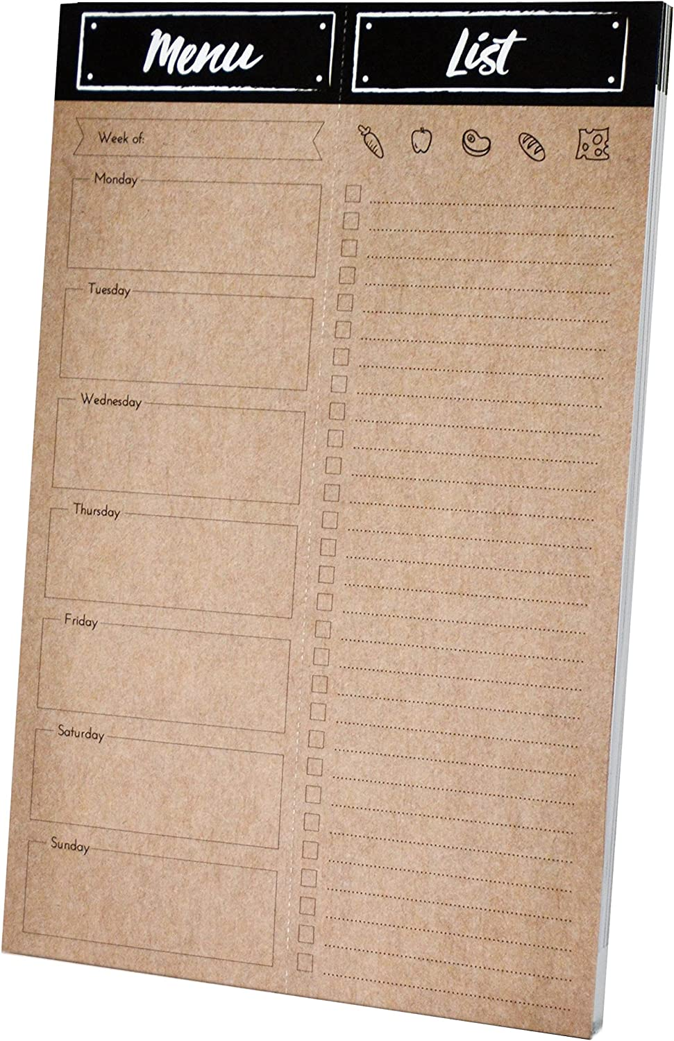 Home Advantage Weekly Meal Planner Pad with Tear Off Grocery List and Magnet (Kraft) Made in the U.S.A.