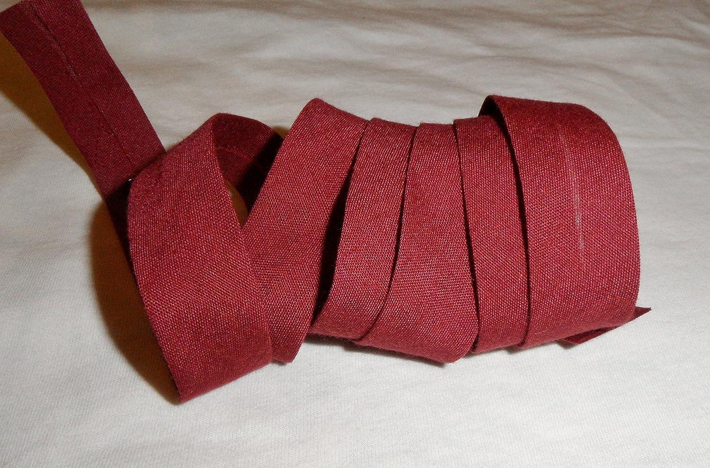X 2/Metri Attraverso Tinta Unita Colore Bordeaux 20/mm piegato Couture accessorio per finiture tessuto creazioni poliestere nastro di sbieco per lavori manuali per 2/metri 38/mm Aperto