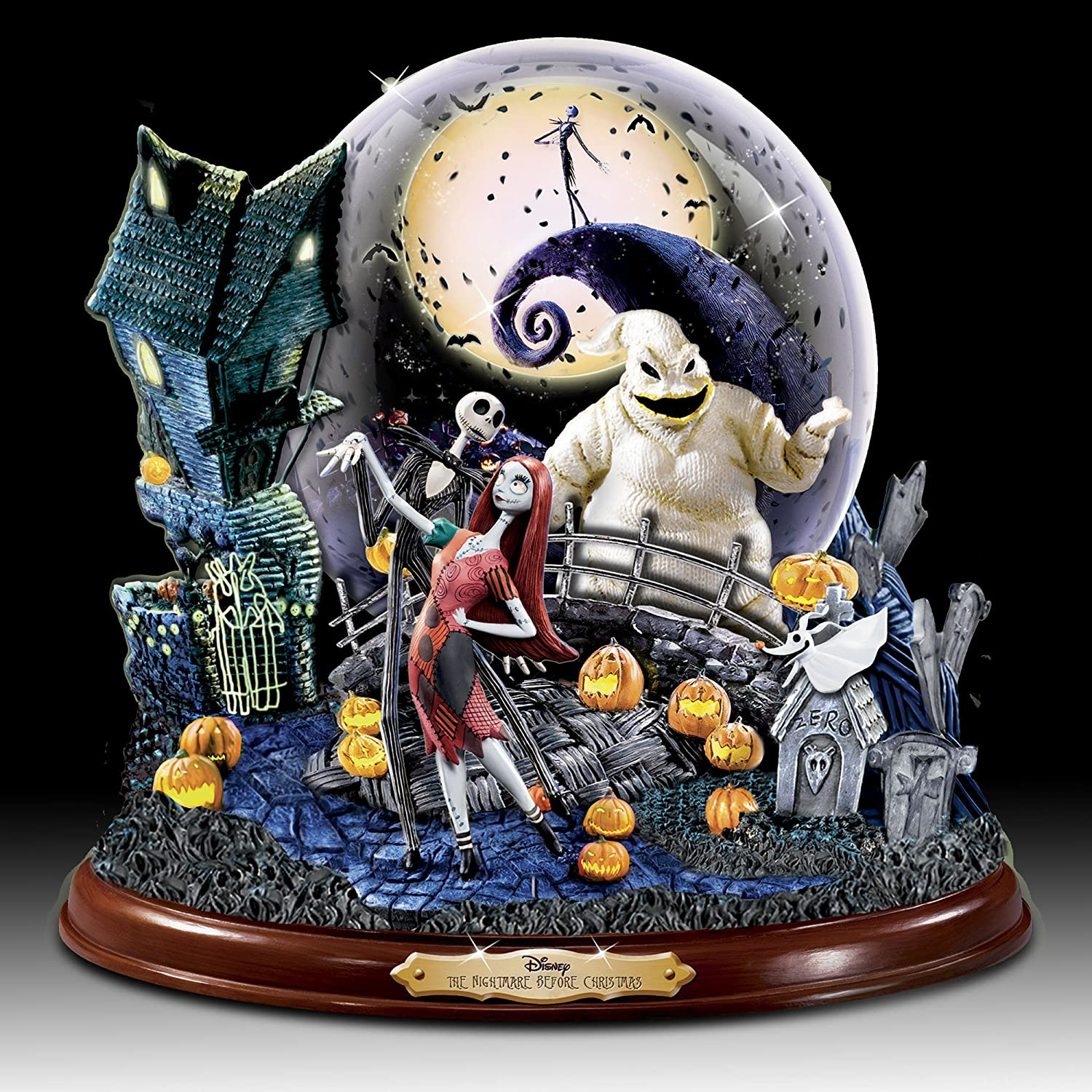 the bradford exchange nightmare before christmas illuminated snowglobe with village scene plays this is halloween