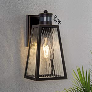 Dusk to Dawn Outdoor Wall Lantern Motion Sensor Exterior Wall Light Fixtures with E26 Base Wall Sconce Anti-Rust Waterproof Black Mount Light with Glass Shade for Doorway Garage LED Bulb Included