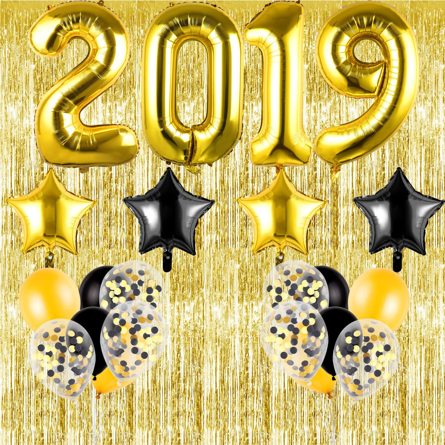 SOTOGO 23 Pack 2019 Balloons Set Gold Black Balloons Decoration Great for Graduations Party Supplies,New Years Eve Backdrop