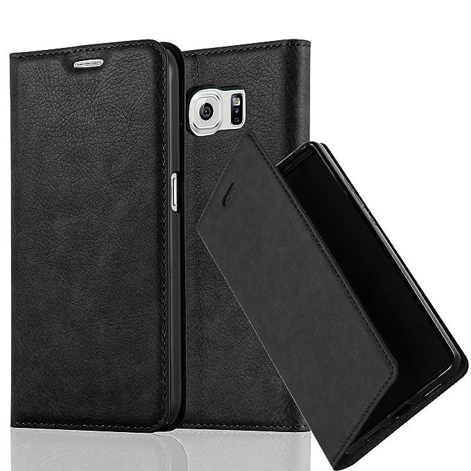 Cadorabo Hülle für Samsung Galaxy S6 - Hülle in Nacht SCHWARZ – Handyhülle mit Magnetverschluss, Standfunktion und Kartenfach