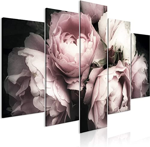 artgeist Handart Canvas Wall Art Flowers Roses Rose 225×112 cm / 88.58″x44.3″ 5 pcs Painting Canvas Prints Picture Artwork Image Framed Contemporary Modern Photo Wall Home Peony Peonies b-B-0398-b-m