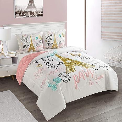 Amazon Com Heritage Kids Bounjour Paris 3 Piece Comforter Set Full Queen Home Kitchen