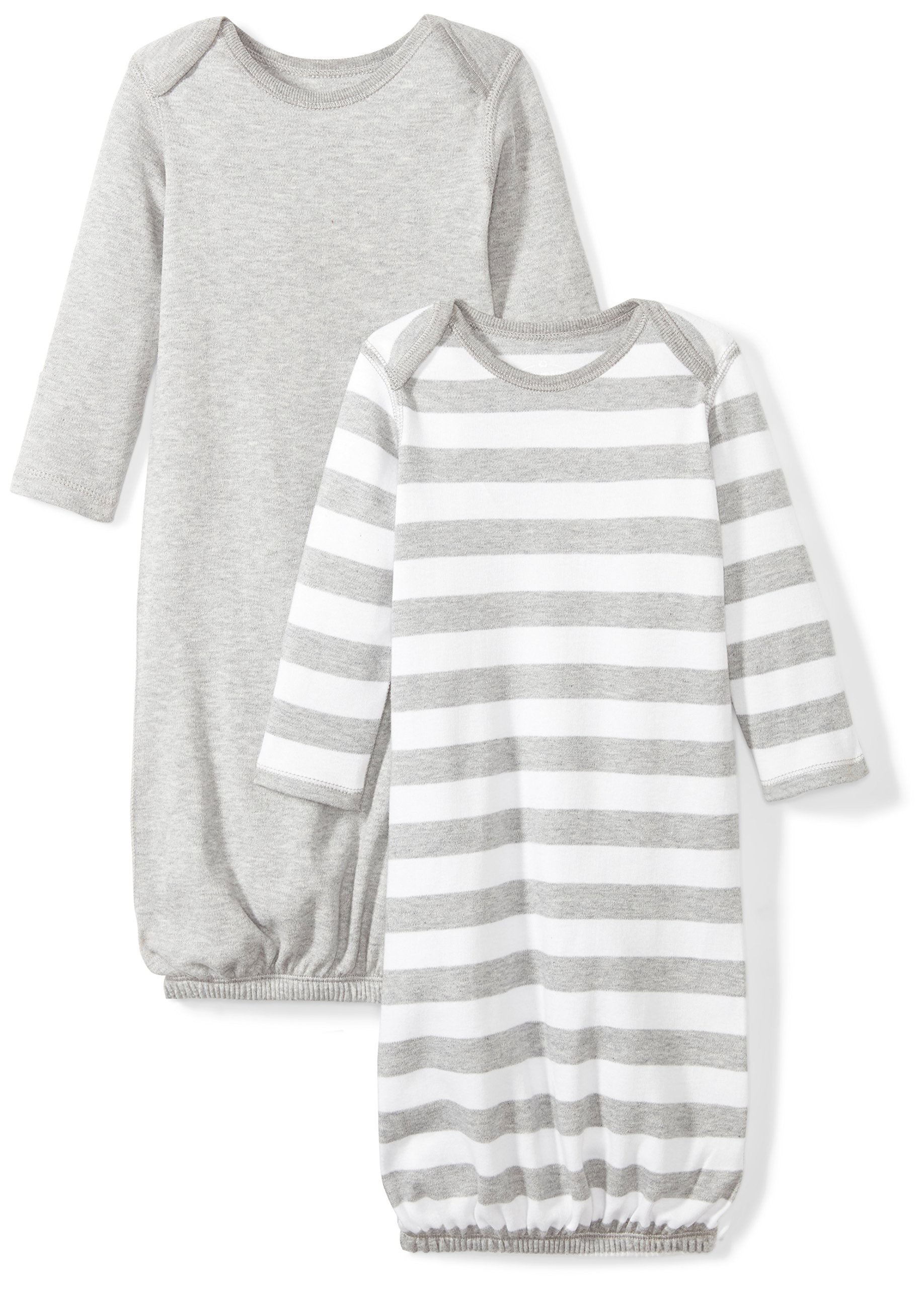 Moon and Back Baby Set of 2 Organic Sleeper Gowns, Grey Heather, 0-6 Months