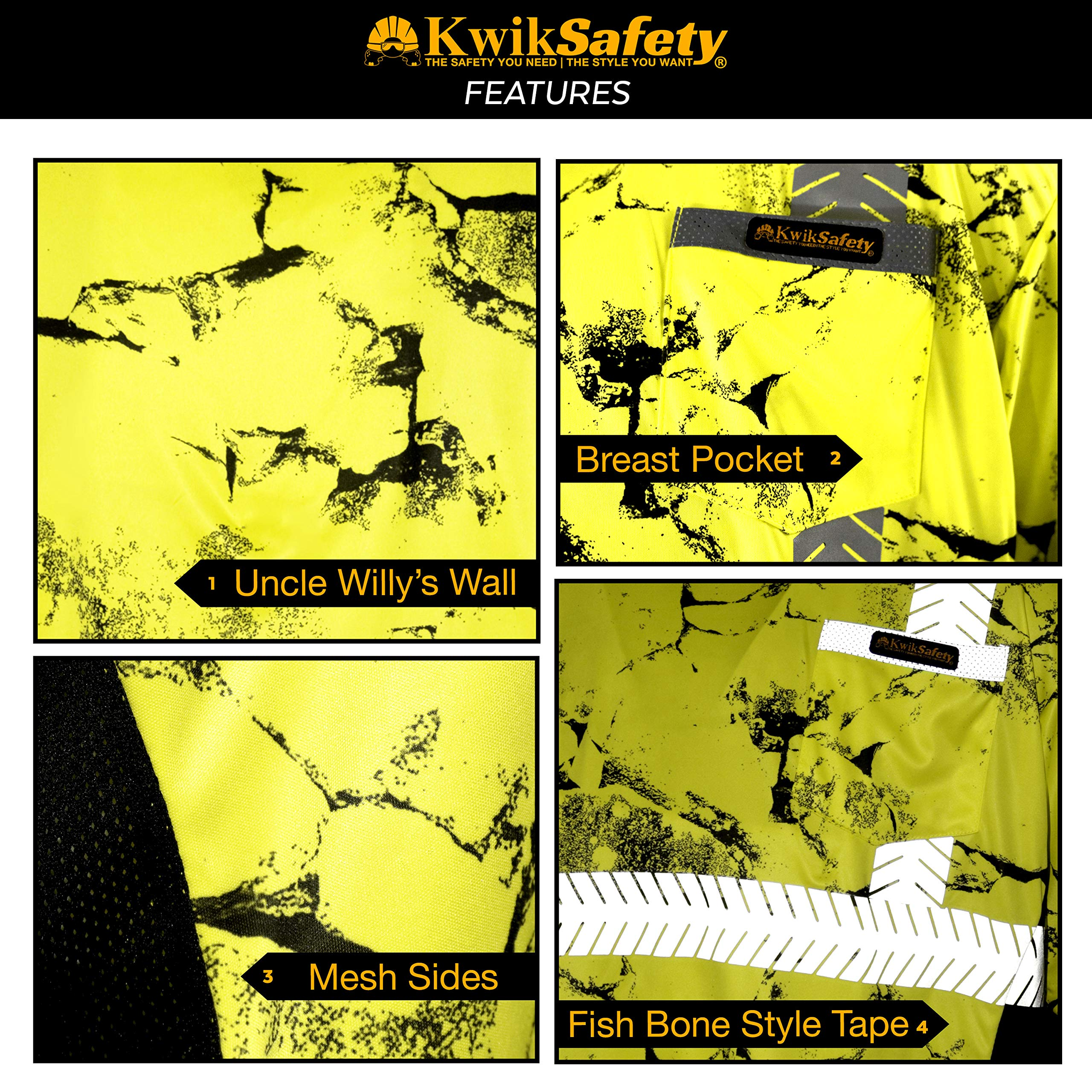 KwikSafety (Charlotte, NC) UNCLE WILLY'S WALL (Chest Pocket) Class 2 ANSI High Visibility Safety Shirt Fishbone Reflective Tape Construction Hi Vis Clothing Men Short Sleeve Camo Yellow Black XX-Large by KwikSafety (Image #5)