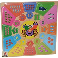 Vibgyor Vibes Wooden Number and Time Self Corrective Learning Clock Educational Toy for Kids