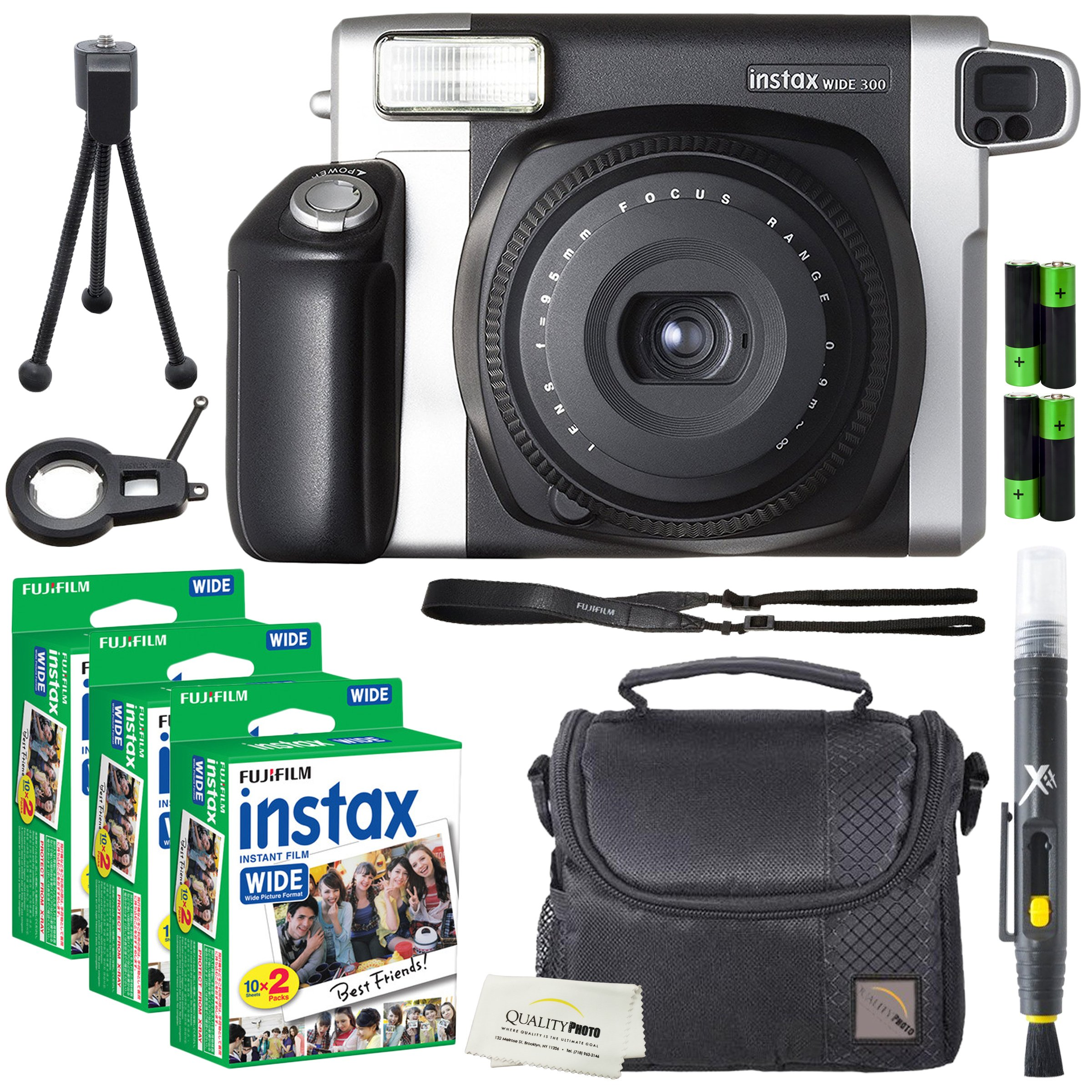 Fujifilm Instax Wide 300 Instant Film Camera + instax Wide Instant Film, 60 Sheets + Extra Accessories by Fujifilm