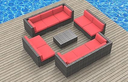 Super Urbanfurnishing Net 11A Bermuda Coralred 11 Piece Modern Patio Furniture Sofa Sectional Couch Set Machost Co Dining Chair Design Ideas Machostcouk