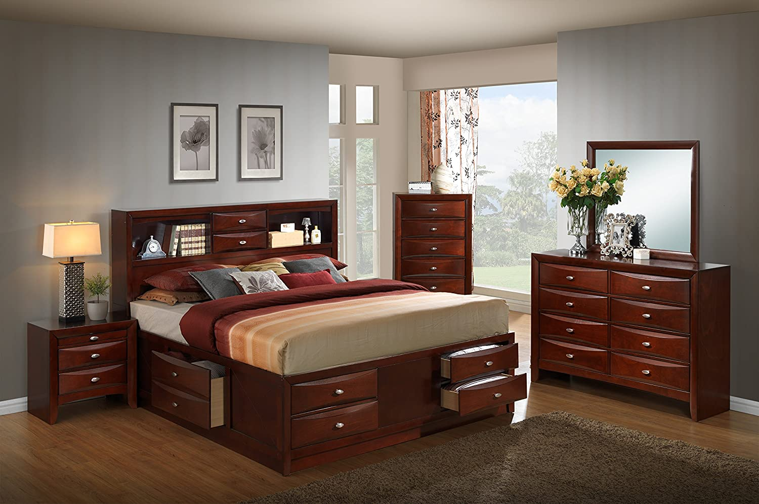 Roundhill Furniture Emily 111 Wood Storage Bed Group with Queen Bed, Dresser, Mirror, Night Stand and Chest, Merlot