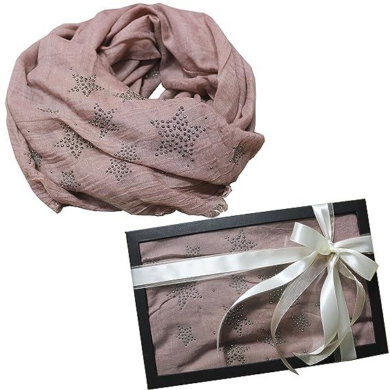 db294ebe346 FERETI Écharpe De Printemps Femme Rose D étoile Foulard Emballage Cadeau  Étoile Strass Etoles Châles